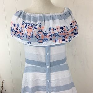 Sugarlips Dresses - Sugarlips Off-Shoulder Ruffle Striped Summer Dress